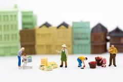 微型人民:购物在市场上购买必要的事 销售的,企业概念图象用途 免版税库存图片