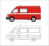 微型公共汽车的火 图库摄影