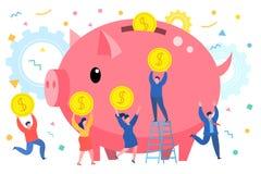 微型商人在大的存钱罐中带来金钱 库存例证