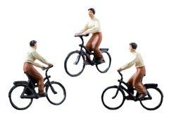 微型图被隔绝的乘驾自行车在白色背景 库存图片