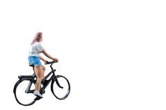 微型图被隔绝的乘驾自行车在白色背景 免版税库存照片