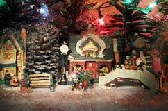 微型圣诞节村庄背景 图库摄影