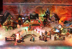 微型圣诞节村庄背景 库存照片