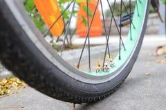 微型在自行车的图乘驾自行车 免版税库存照片