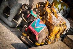 微型大象雕象,曼谷 免版税图库摄影