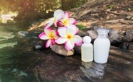 微型套泡末浴阵雨与花和pebbl的胶凝体液体 免版税库存图片