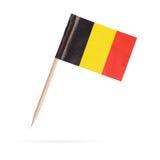 微型旗子比利时 背景查出的白色 免版税库存图片
