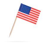 微型旗子美国 背景查出的白色 图库摄影