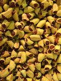 微型杉木苹果点心和开胃菜与茶时间 库存照片