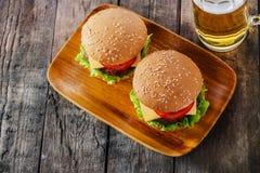 微型汉堡包 库存图片