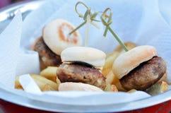 微型汉堡包 库存照片