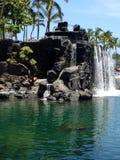 微型瀑布在夏威夷 免版税库存照片