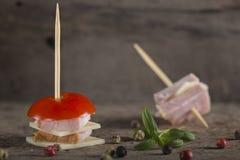 微型火腿和乳酪开胃菜 图库摄影