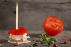 微型火腿和乳酪开胃菜 免版税库存照片