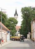微型火车在Trebon 免版税库存照片