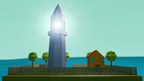 微型灯塔和房子 免版税库存照片