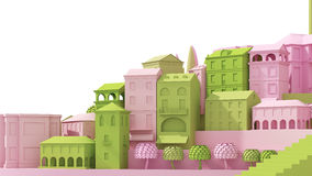 微型玩具老城市在白色隔绝的概念桃红色和绿色, 3d翻译 图库摄影