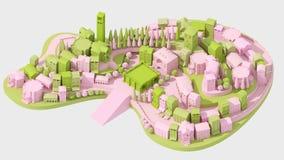 微型玩具老城市概念桃红色和绿色在白色, 3d翻译 库存照片