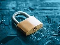 微型电路、计算机和电子现代背景 锁在芯片 个人计算机techologies 库存照片