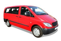 微型红色有篷货车 免版税库存图片