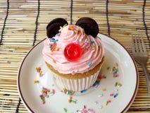 微型老鼠杯形蛋糕 库存照片