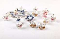 微型茶具的收集 免版税库存图片