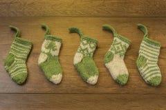 微型被编织的袜子 库存照片