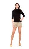 微型裙子佩带的妇女 免版税库存图片