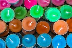 微型颜色蜡烛 图库摄影