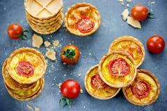 微型饼用乳酪和蕃茄 库存照片