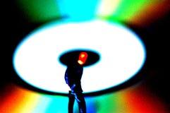 微型CD的五颜六色的人 库存图片