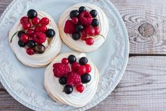 微型pavlova蛋糕 免版税库存图片