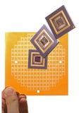 微处理器和芯片面具在手中 免版税库存图片