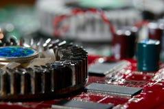 微处理器有主板背景 计算机板基片电路 微电子学硬件概念 免版税图库摄影