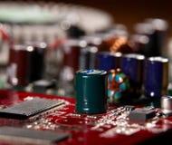 微处理器有主板背景 计算机板基片电路 微电子学硬件概念 免版税库存图片