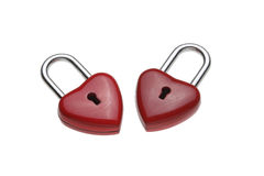 微小的心形的锁,挂锁 免版税库存图片