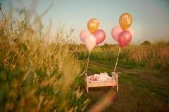 微小的婴孩睡着在他的在鞋带帽子A的小儿床在盖帽和飞行与气球 库存照片