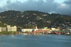微明在卡斯特里,圣卢西亚,加勒比岛 免版税库存照片