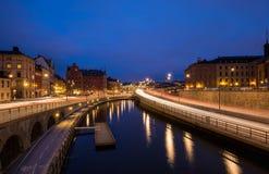 微明的斯德哥尔摩的老镇 库存图片
