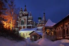 微明的Savvino-Storozhevsky修道院- Zvenigorod,俄罗斯 库存图片