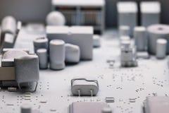 微电子学白色背景芯片 库存照片