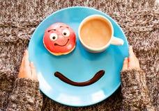 微笑一顿早晨好早餐 免版税库存照片