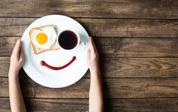微笑一顿早晨好早餐 库存图片