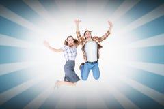 微笑万人迷的行家的综合图象跳跃和 图库摄影