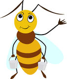 微笑与两个桶的蜂动画片 库存图片