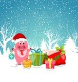 微笑与圣诞节礼物箱子 冬天自然森林 皇族释放例证