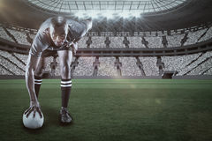 微笑与3d的橄榄球球员画象的综合图象 免版税库存图片