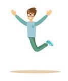 微笑偶然的人跳跃和 库存照片