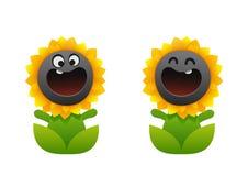 微笑动画片的花两个类型向日葵 免版税库存图片
