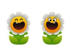 微笑动画片的花两个类型春黄菊 图库摄影